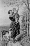 EW 0481 – Mutter mit Kind und Ziege am blühenden Baum