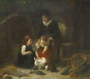"""EW 0384 – Großmutter mit zwei Kindern und Hasen (""""Spielgenossen"""")"""